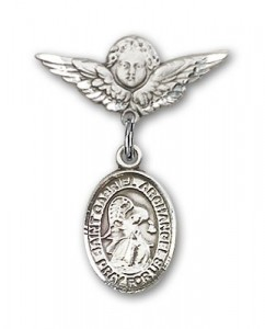 Pin Badge with St. Gabriel the Archangel Charm and Angel with Smaller Wings Badge Pin [BLBP0536]
