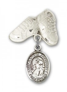 Pin Badge with St. Gabriel the Archangel Charm and Baby Boots Pin [BLBP0538]