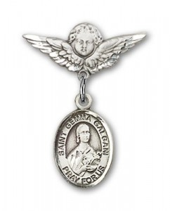 Pin Badge with St. Gemma Galgani Charm and Angel with Smaller Wings Badge Pin [BLBP1166]