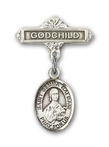Pin Badge with St. Gemma Galgani Charm and Godchild Badge Pin [BLBP1167]