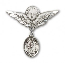 Pin Badge with St. Genesius of Rome Charm and Angel with Larger Wings Badge Pin [BLBP0528]