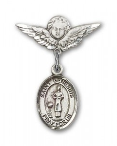 Pin Badge with St. Genesius of Rome Charm and Angel with Smaller Wings Badge Pin [BLBP0529]