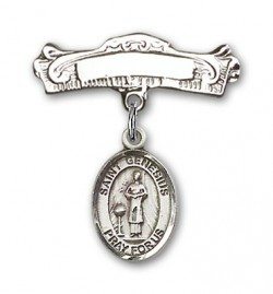 Pin Badge with St. Genesius of Rome Charm and Arched Polished Engravable Badge Pin [BLBP0527]