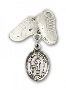 Pin Badge with St. Genesius of Rome Charm and Baby Boots Pin [BLBP0531]