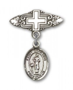 Pin Badge with St. Genesius of Rome Charm and Badge Pin with Cross [BLBP0526]