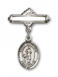 Pin Badge with St. Genesius of Rome Charm and Polished Engravable Badge Pin [BLBP0525]