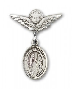 Pin Badge with St. Genevieve Charm and Angel with Smaller Wings Badge Pin [BLBP0550]