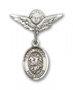Pin Badge with St. George Charm and Angel with Smaller Wings Badge Pin [BLBP0543]