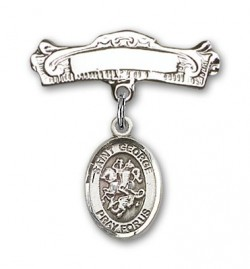 Pin Badge with St. George Charm and Arched Polished Engravable Badge Pin [BLBP0541]