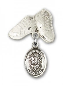 Pin Badge with St. George Charm and Baby Boots Pin [BLBP0545]