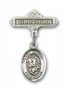Pin Badge with St. George Charm and Godchild Badge Pin [BLBP0544]