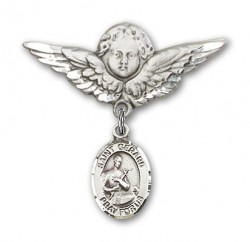 Pin Badge with St. Gerard Charm and Angel with Larger Wings Badge Pin [BLBP0556]