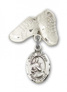 Pin Badge with St. Gerard Charm and Baby Boots Pin [BLBP0559]