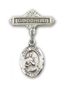 Pin Badge with St. Gerard Charm and Godchild Badge Pin [BLBP0558]