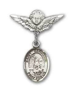 Pin Badge with St. Germaine Cousin Charm and Angel with Smaller Wings Badge Pin [BLBP1362]