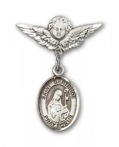 Pin Badge with St. Gertrude of Nivelles Charm and Angel with Smaller Wings Badge Pin [BLBP1418]