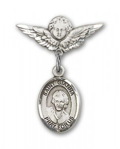 Pin Badge with St. Gianna Beretta Molla Charm and Angel with Smaller Wings Badge Pin [BLBP2116]