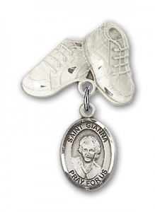 Pin Badge with St. Gianna Beretta Molla Charm and Baby Boots Pin [BLBP2118]