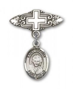 Pin Badge with St. Gianna Beretta Molla Charm and Badge Pin with Cross [BLBP2113]