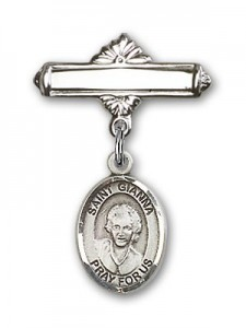 Pin Badge with St. Gianna Beretta Molla Charm and Polished Engravable Badge Pin [BLBP2112]
