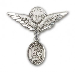 Pin Badge with St. Giles Charm and Angel with Larger Wings Badge Pin [BLBP2255]