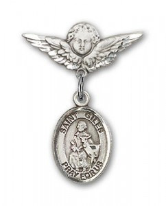 Pin Badge with St. Giles Charm and Angel with Smaller Wings Badge Pin [BLBP2256]