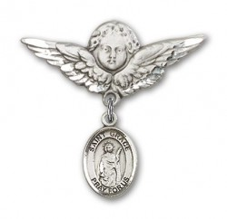 Pin Badge with St. Grace Charm and Angel with Larger Wings Badge Pin [BLBP1662]