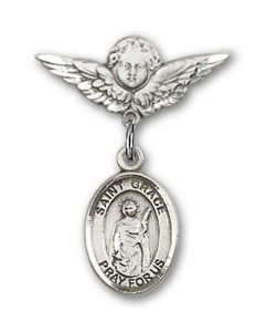 Pin Badge with St. Grace Charm and Angel with Smaller Wings Badge Pin [BLBP1663]
