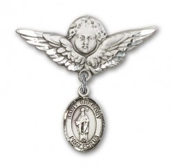 Pin Badge with St. Gregory the Great Charm and Angel with Larger Wings Badge Pin [BLBP0598]