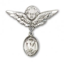 Pin Badge with St. Helen Charm and Angel with Larger Wings Badge Pin [BLBP0563]