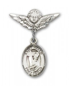 Pin Badge with St. Helen Charm and Angel with Smaller Wings Badge Pin [BLBP0564]