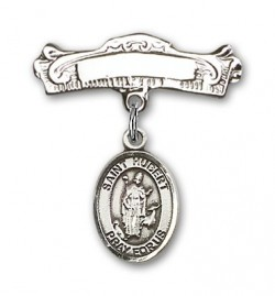 Pin Badge with St. Hubert of Liege Charm and Arched Polished Engravable Badge Pin [BLBP0576]