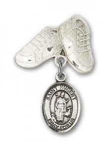 Pin Badge with St. Hubert of Liege Charm and Baby Boots Pin [BLBP0580]