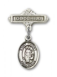 Pin Badge with St. Hubert of Liege Charm and Godchild Badge Pin [BLBP0579]