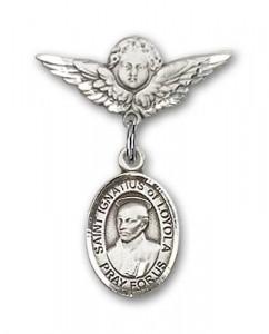Pin Badge with St. Ignatius Charm and Angel with Smaller Wings Badge Pin [BLBP1404]