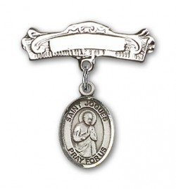 Pin Badge with St. Isaac Jogues Charm and Arched Polished Engravable Badge Pin [BLBP1367]