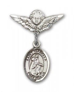 Pin Badge with St. Isabella of Portugal Charm and Angel with Smaller Wings Badge Pin [BLBP1628]