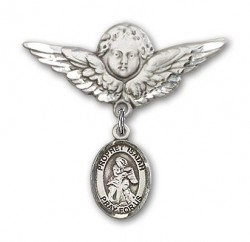 Pin Badge with St. Isaiah Charm and Angel with Larger Wings Badge Pin [BLBP1683]