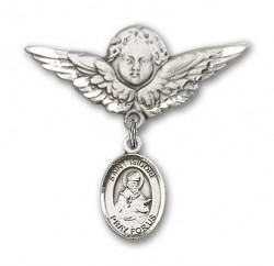 Pin Badge with St. Isidore of Seville Charm and Angel with Larger Wings Badge Pin [BLBP0605]