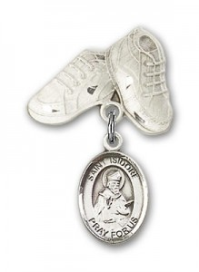 Pin Badge with St. Isidore of Seville Charm and Baby Boots Pin [BLBP0608]