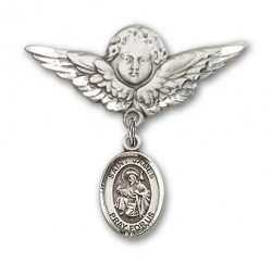 Pin Badge with St. James the Greater Charm and Angel with Larger Wings Badge Pin [BLBP0612]