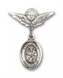 Pin Badge with St. James the Greater Charm and Angel with Smaller Wings Badge Pin [BLBP0613]