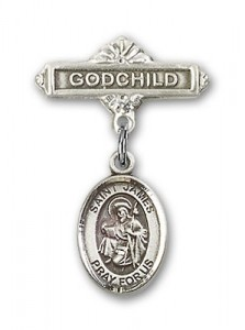 Pin Badge with St. James the Greater Charm and Godchild Badge Pin [BLBP0614]