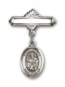 Pin Badge with St. James the Greater Charm and Polished Engravable Badge Pin [BLBP0609]