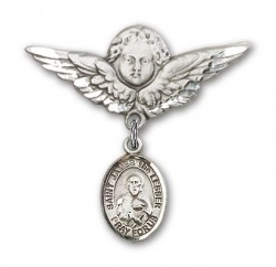 Pin Badge with St. James the Lesser Charm and Angel with Larger Wings Badge Pin [BLBP1809]