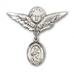 Pin Badge with St. Jane of Valois Charm and Angel with Larger Wings Badge Pin [BLBP0465]