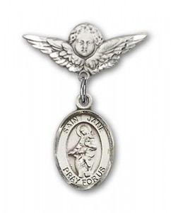 Pin Badge with St. Jane of Valois Charm and Angel with Smaller Wings Badge Pin [BLBP0466]
