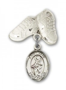 Pin Badge with St. Jane of Valois Charm and Baby Boots Pin [BLBP0468]