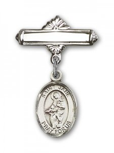 Pin Badge with St. Jane of Valois Charm and Polished Engravable Badge Pin [BLBP0462]
