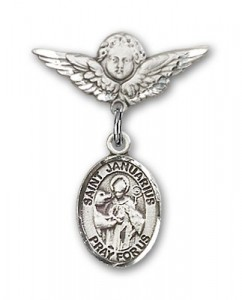 Pin Badge with St. Januarius Charm and Angel with Smaller Wings Badge Pin [BLBP2263]
